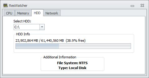 ResWatcher HDD Monitor