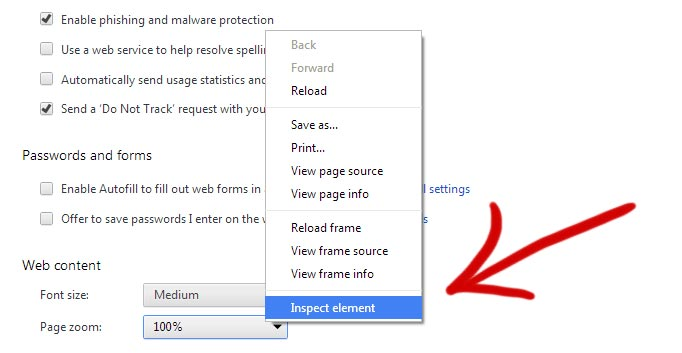 Google Chrome settings inspect element