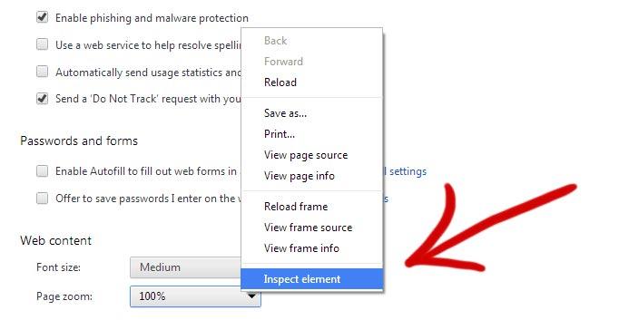 Google Chrome settings inspect element