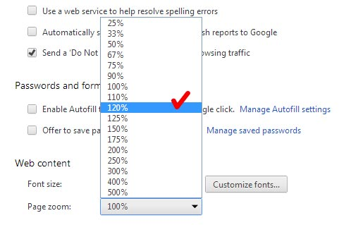 Google Chrome settings after modified page zoom option